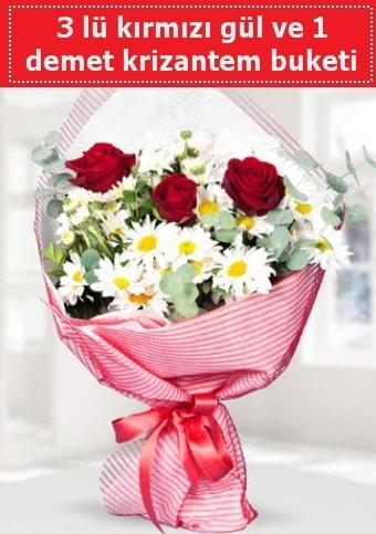 3 adet kırmızı gül ve krizantem buketi  Samsun online çiçek gönderme sipariş