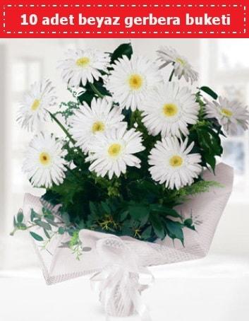10 Adet beyaz gerbera buketi  Samsun anneler günü çiçek yolla