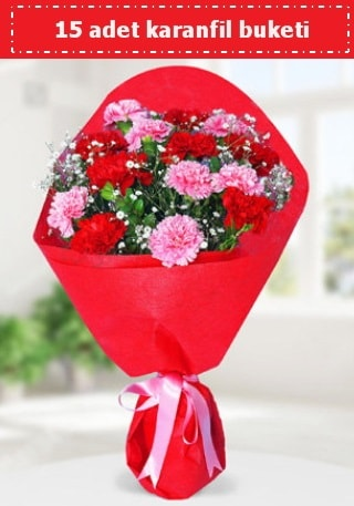 15 adet karanfilden hazırlanmış buket  Samsun çiçek gönderme sitemiz güvenlidir