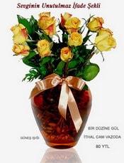 Samsun kaliteli taze ve ucuz çiçekler  mika yada Cam vazoda 12 adet sari gül
